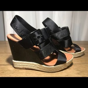 COACH BLACK PATENT VINTAGE WEDGE SPECIAL EDITION